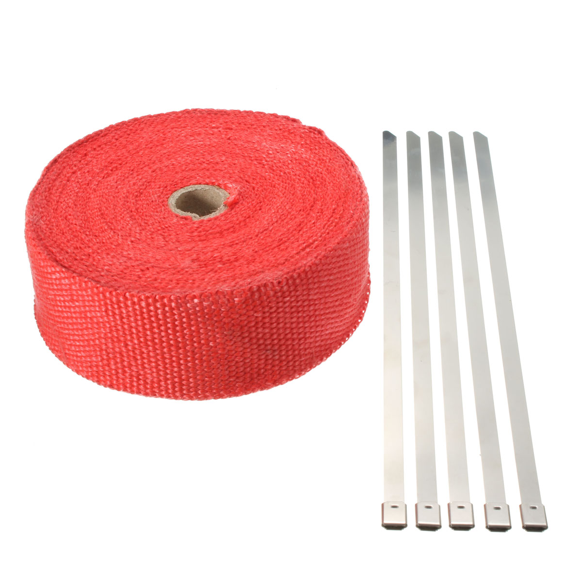 15M Red Exhaust Pipe Insulating Wrap with 5 Zip Ties