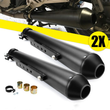2X Universal Motorcycle Cafe Racer Exhaust Pipes with Sliding Bracket