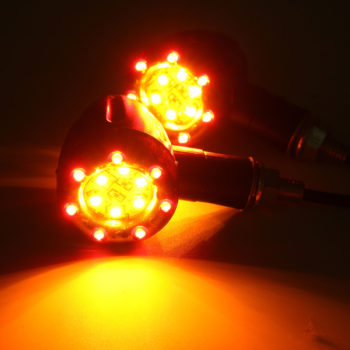 4X Universal LED Amber and Red Light Motorcycle Rear Indicators with Running Lamp